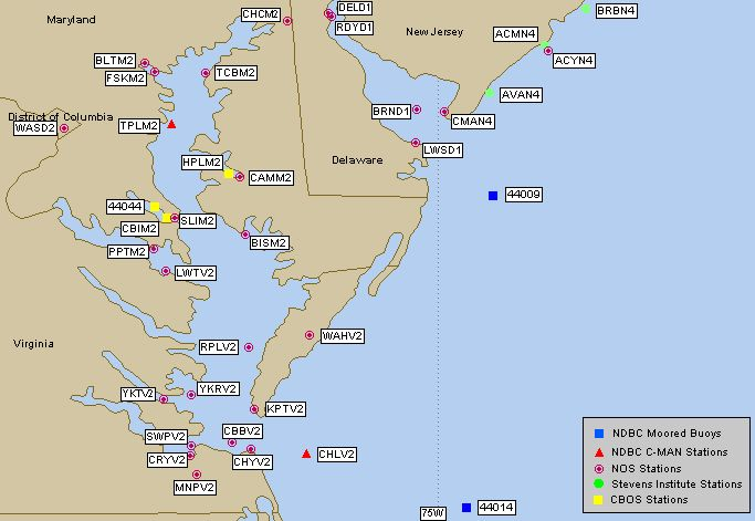 Chesapeake Bay Live Buoy Data Tides Waves Water Temperature And Wind - Us map chesapeake bay