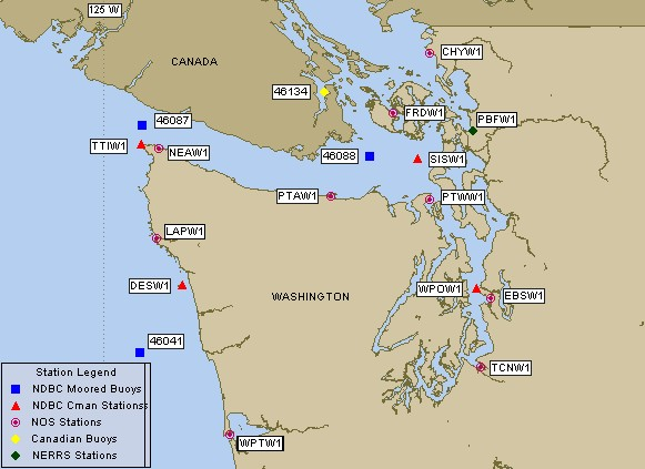 Northwest Washington The Puget Sound Buoy Data Tides Waves Water - Puget-sound-on-us-map