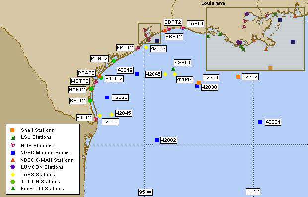 Map Of Texas Coastline.Texas Gulf Of Mexico Live Buoy Data