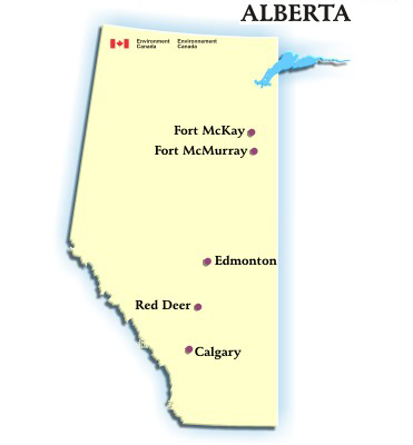 Image showing the map of Alberta with hyperlink to the AQHI readings for Calgary, Edmonton, Fort McKay, Fort McMurray and Red Deer