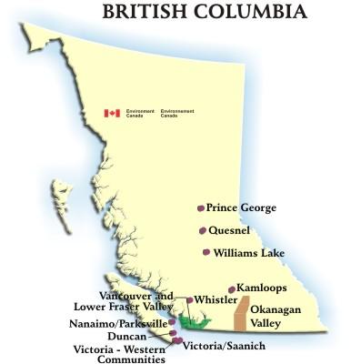 British Columbia Canada Air Quality Health Index Map