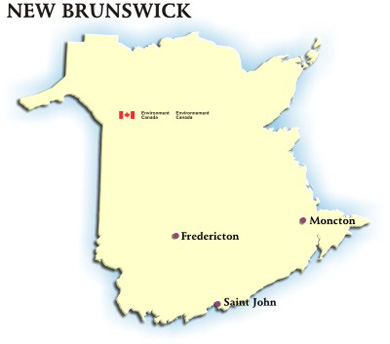 Image showing the map of New Brunswick with hyperlinks to the AQHI readings for Fredericton, Moncton and Saint John
