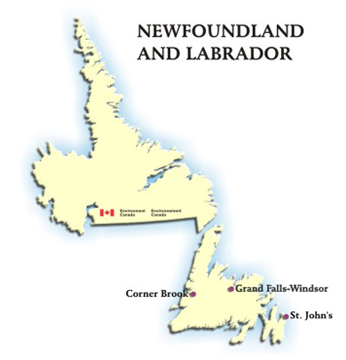 Image showing the map of Newfoundland and Labrador with hyperlinks to the AQHI readings for Corner Brook, Grand Falls-Windsor and St. John's