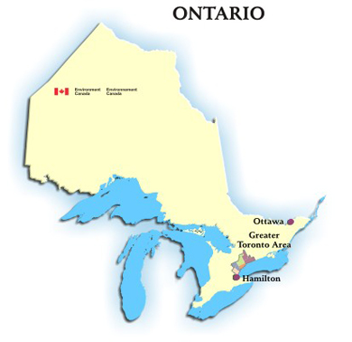 Image showing the map of the province of Ontario with hyperlinks to the AQHI readings for Ottawa, the Greater Toronto Area and Hamilton