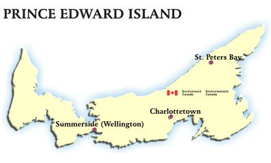 Image showing the map of Prince Edward Island with hyperlinks to the AQHI readings for Charlottetown, St. Peters Bay and Summerside (Wellington)