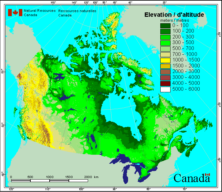 Canada Elevation Map