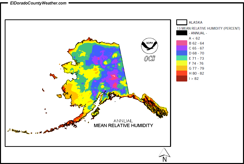 Alaska Yearly Annual And Monthly Mean Relative Humidity - Us average annual humidity map