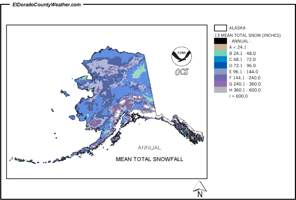 Alaska Yearly Annual And Monthly Mean Total Snowfall - Average annual snowfall map us