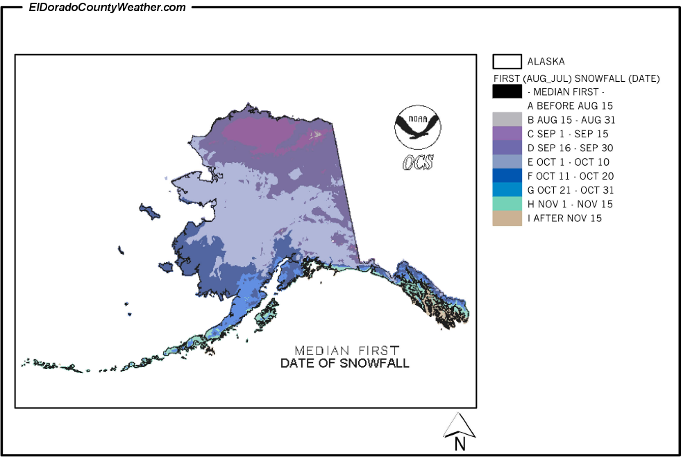 Alaska Yearly Annual And Monthly Median First Date Of Snowfall - Average annual snowfall map us