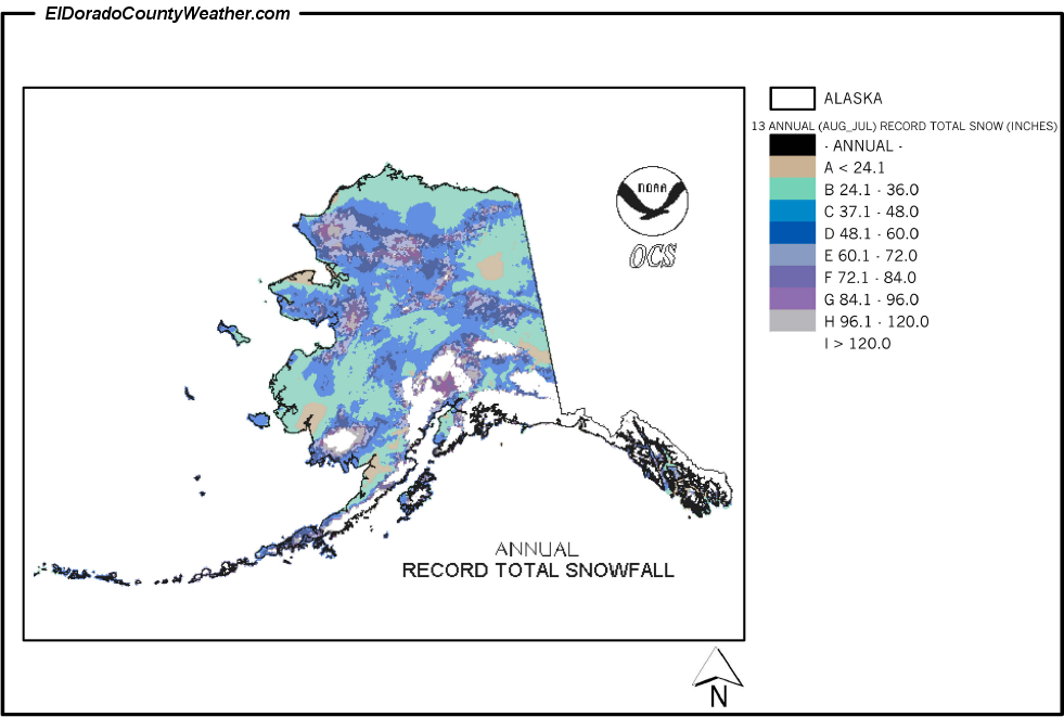 Alaska Yearly Annual And Monthly Record Total Snowfall - Us annual snowfall map