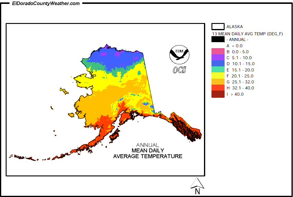 Alaska Climate Map for Annual Mean Daily Average Temperature