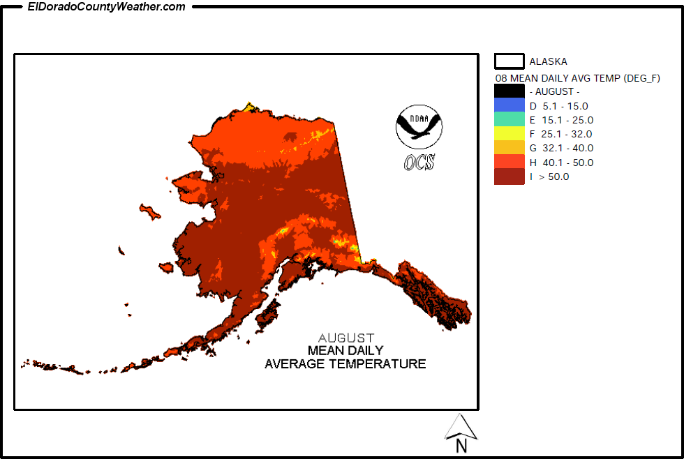 Alaska Climate Map For August Annual Mean Daily Average Temperature - Alaska weather averages