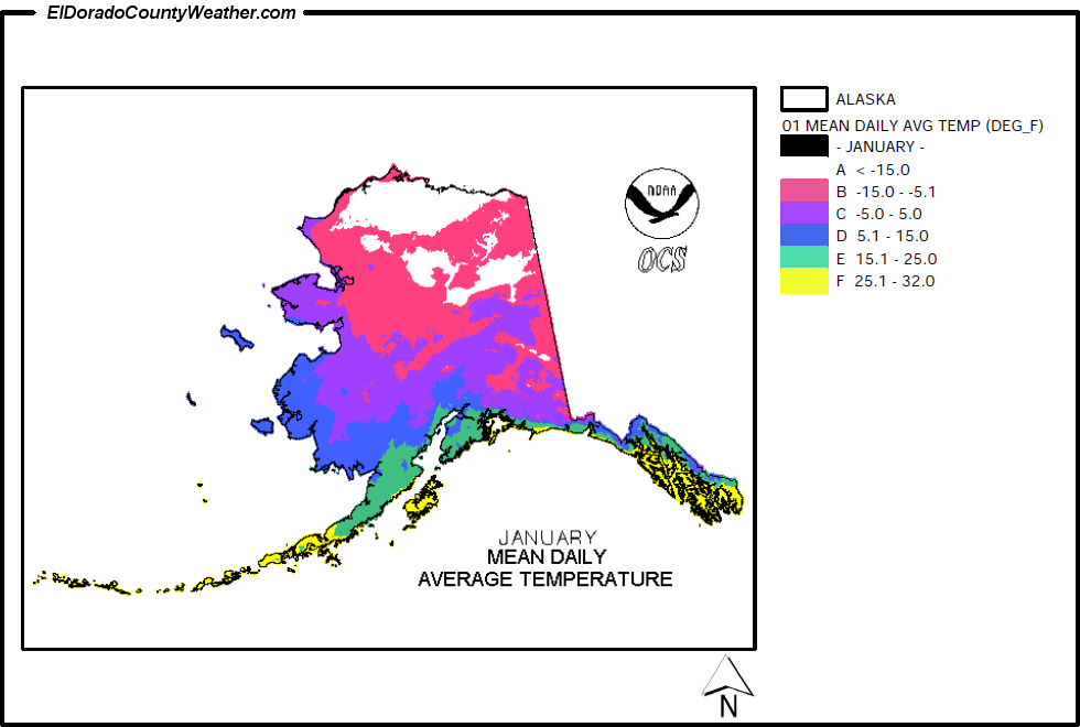 Alaska Climate Map For January Annual Mean Daily Average Temperature - Us annual snowfall map