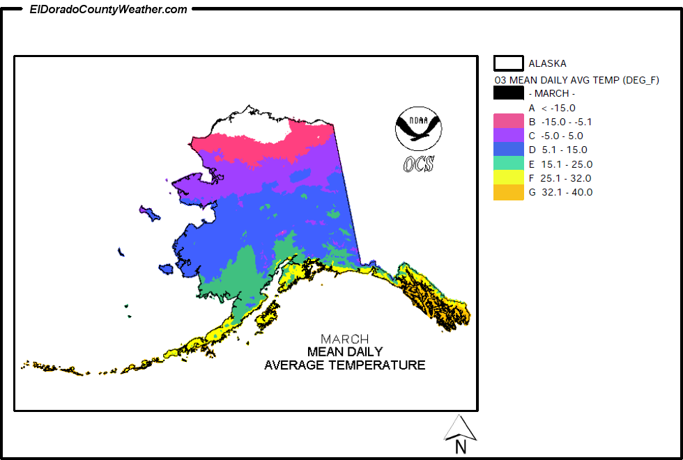 Alaska Climate Map For March Annual Mean Daily Average Temperature