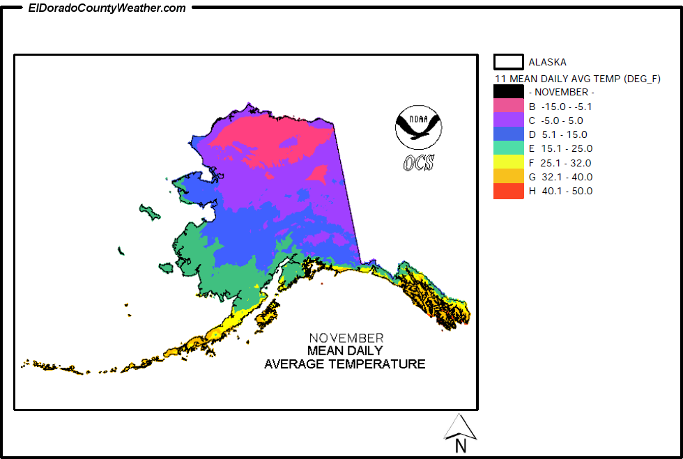 Alaska Temperature Map Alaska Climate Map for November Annual Mean Daily Average Temperature