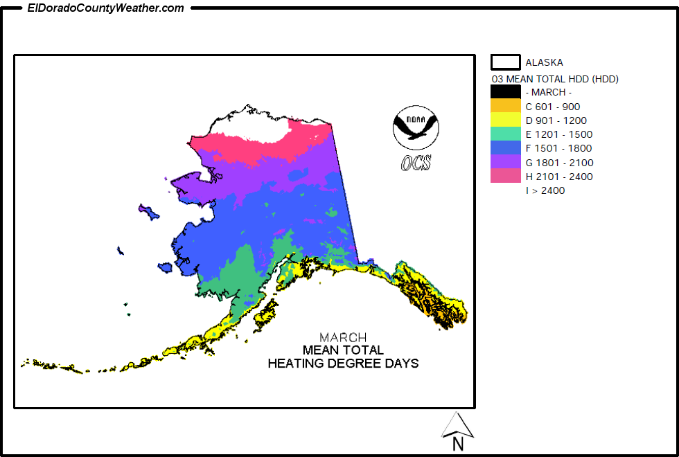 Alaska Yearly Annual And Monthly Mean Total Heating Degree Days - Average annual snowfall map us