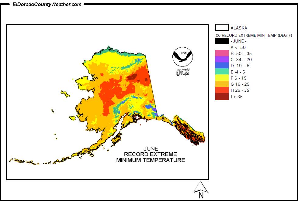 Alaska Temperature Map Alaska Climate Map for June Record Extreme Minimum Temperatures