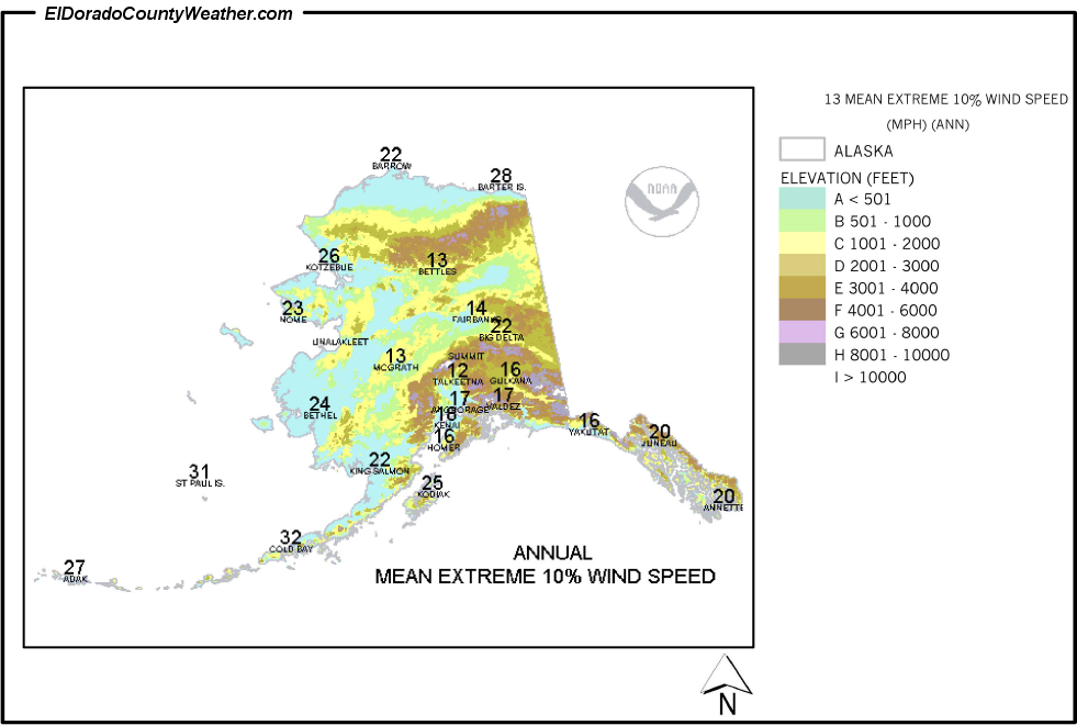 Alaska Yearly Annual And Monthly Mean Extreme Wind Speed - Us average wind speed map