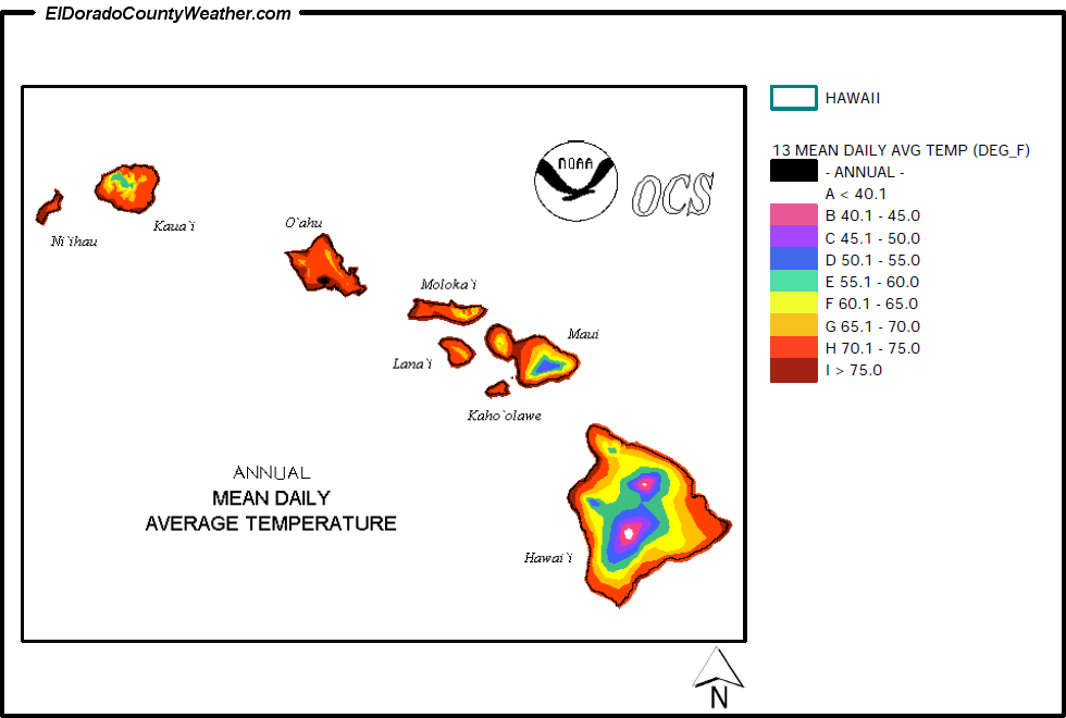Hawaii Climate Map for Annual Mean Daily Average Temperature