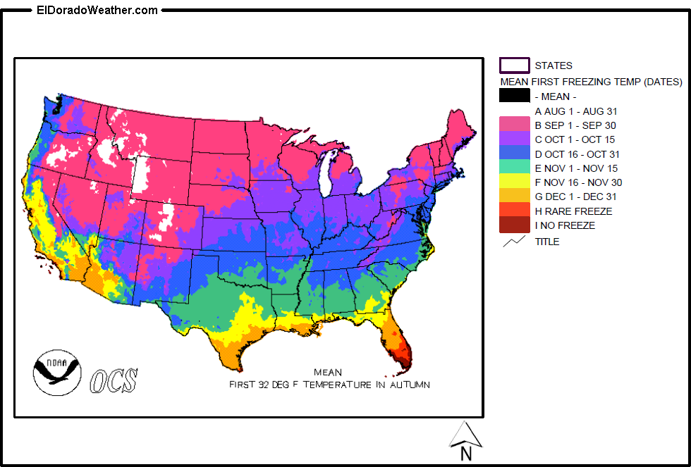 United States Mean Date of First 32-Degree Farenheight Temperature ...