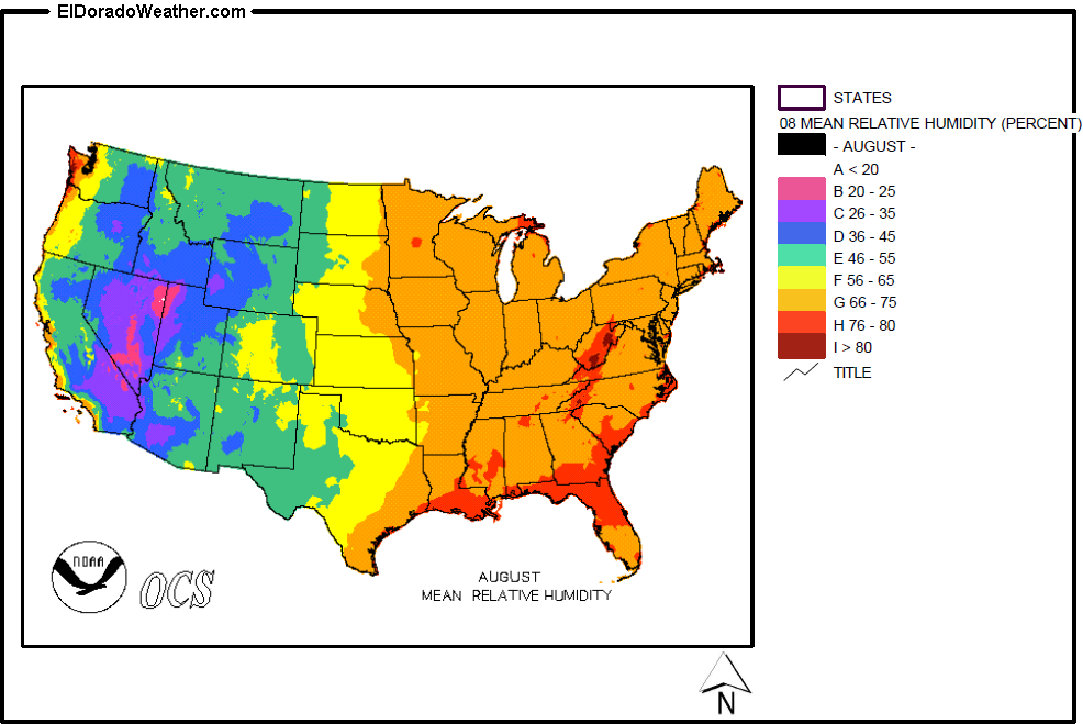 United States Yearly Annual And Monthly Mean Relative Humidity - Guatemala in map relative to the us