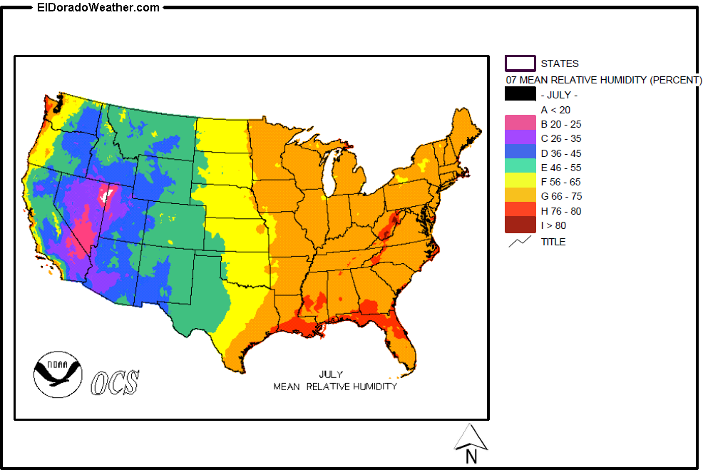 United States Yearly Annual And Monthly Mean Relative Humidity - Humidity map of us