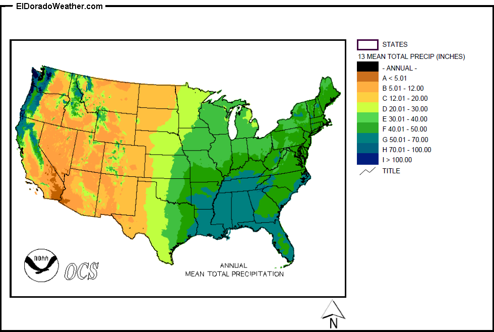 Rainfall Totals Map United States Yearly [Annual] and Monthly Mean Total Precipitation
