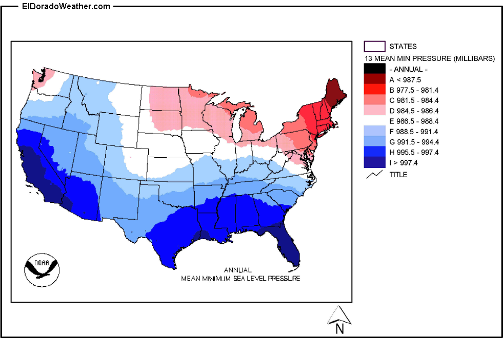 United States Yearly Annual And Monthly Mean Minimum Sea Level - Pressure map us