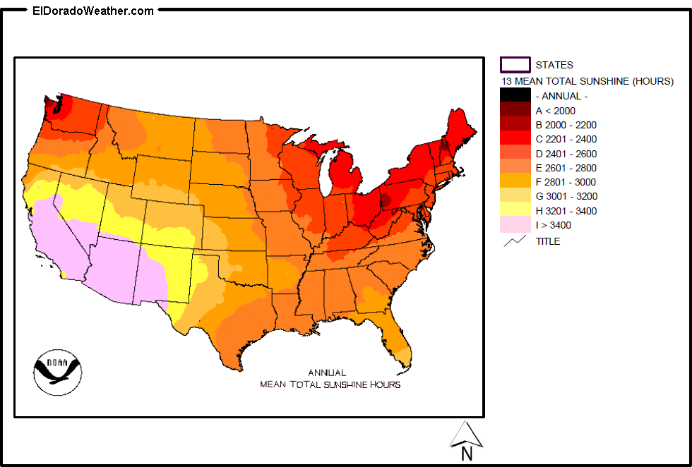 United States Annual Mean Total Sunshine Hours