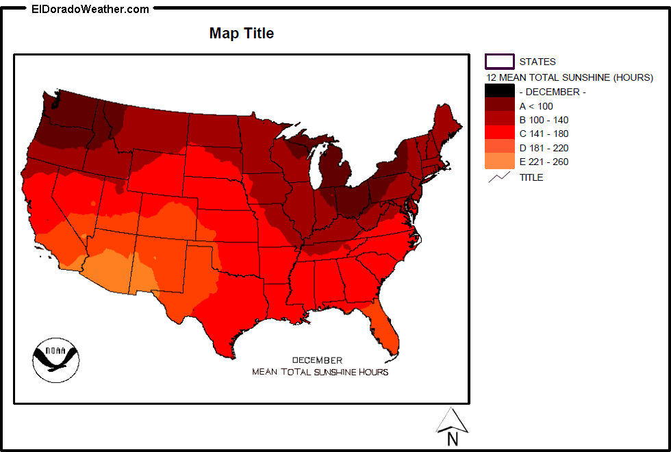 United States Yearly Annual And Monthly Mean Total Sunshine Hours - Us sun hours map