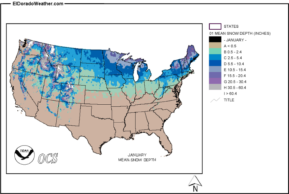 United States Yearly Annual And Monthly Mean Snow Depth - Map of us snow cover