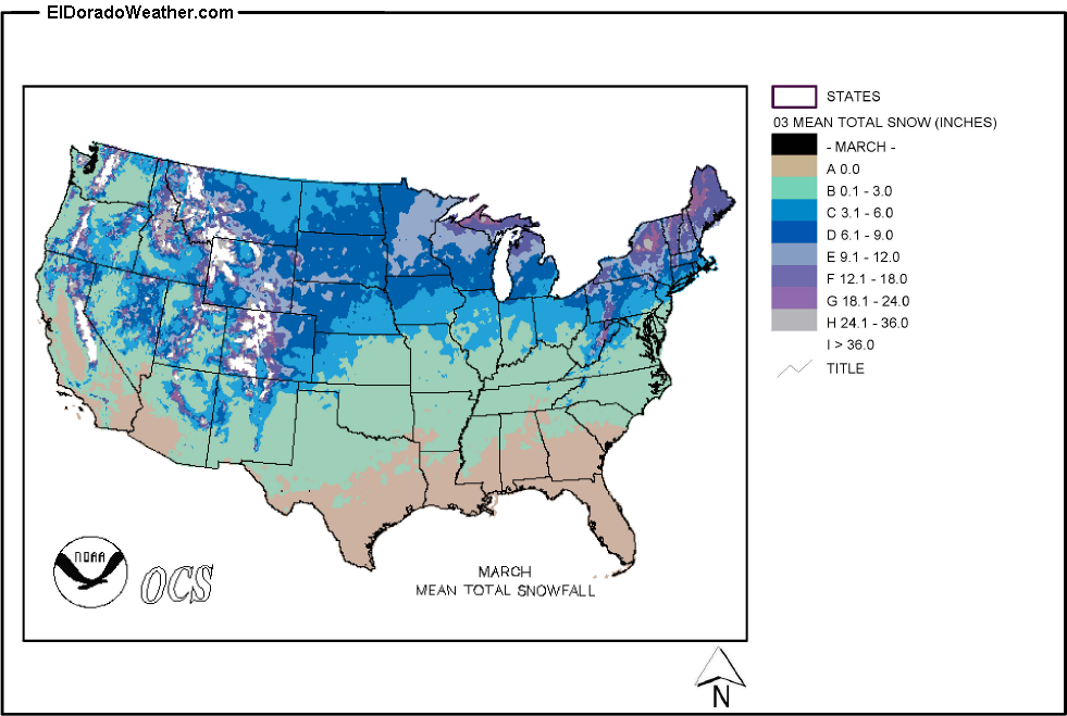 United States Yearly Annual And Monthly Mean Total Snowfall - Us annual snowfall map