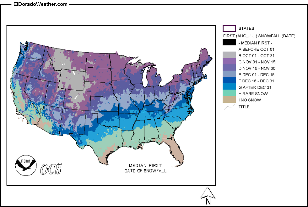 us median first date of snowfall