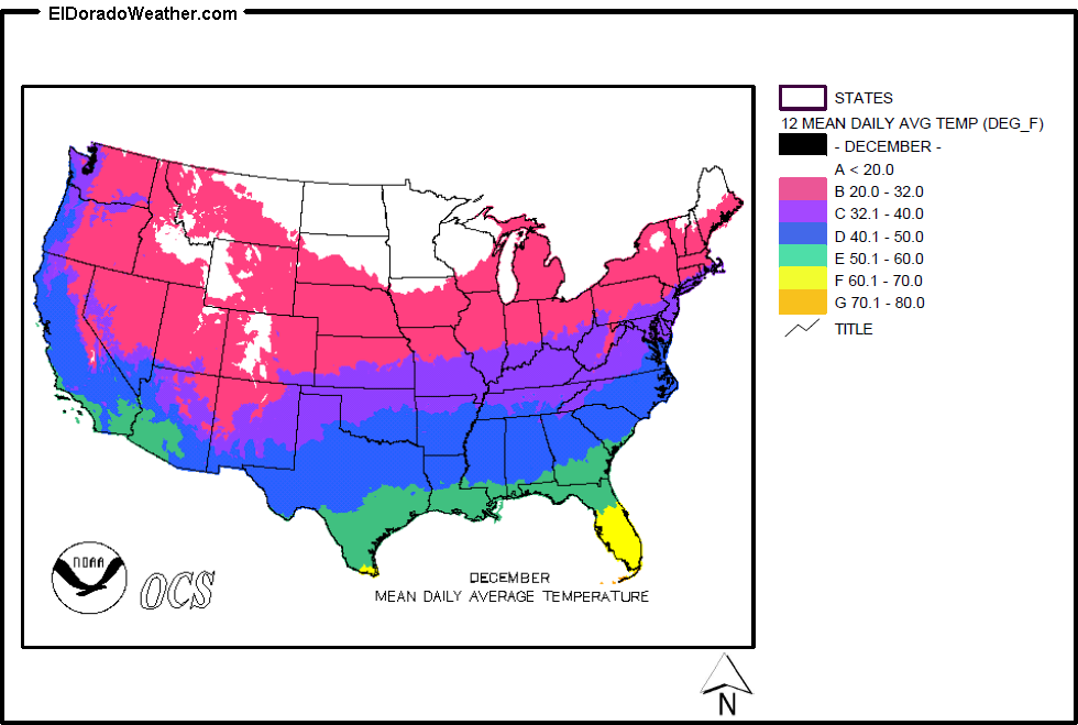 Us Temperature Map December United States Yearly Annual Mean Daily Average Temperature for