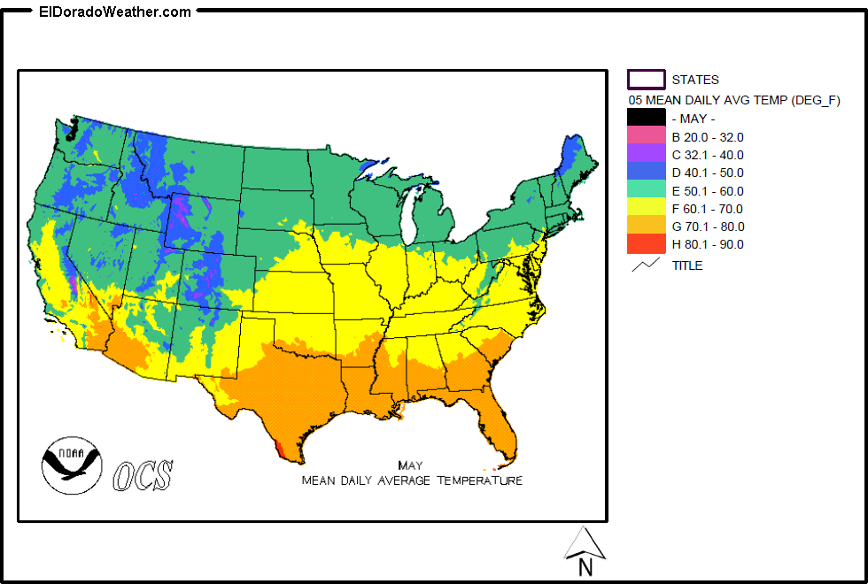 United States Yearly Annual Mean Daily Average Temperature For May Map - Us map temperature