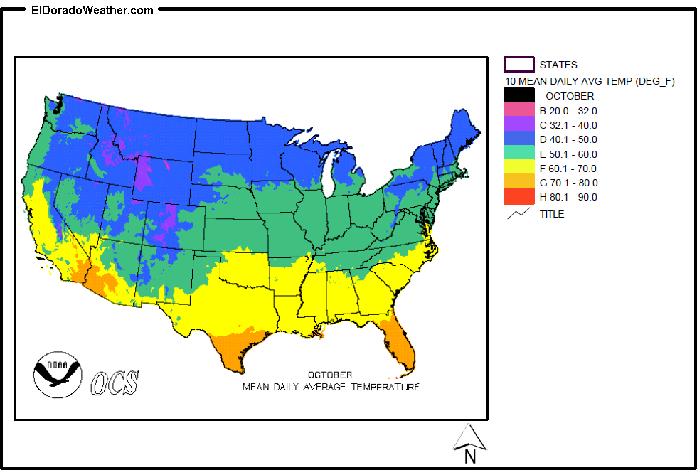 United States Yearly Annual Mean Daily Average Temperature For - Average us temperature map