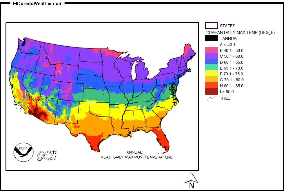 United States YearlyMonthly Mean Daily Maximum Temperatures - Us weather temperature map