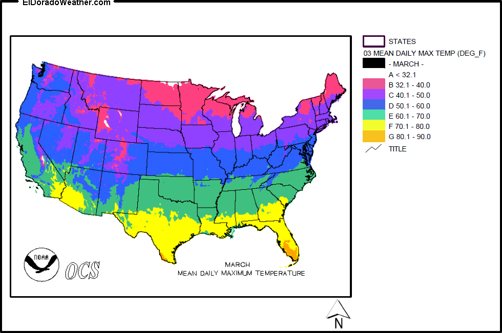 United States Yearly Annual Mean Daily Maximum Temperature For - Us annual temperature map