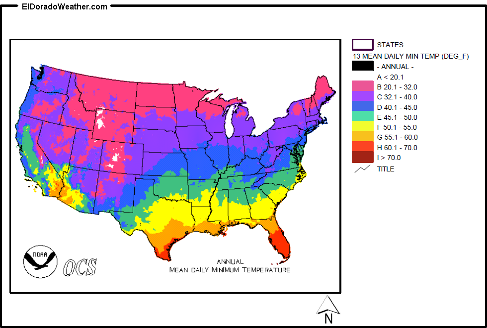 United States Yearly And Monthly Mean Daily Minimum Temperatures - Show map of the us