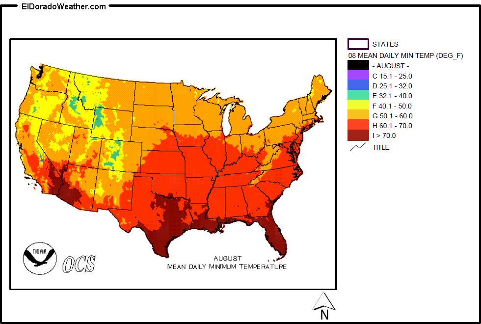 United States Yearly And Monthly Mean Daily Minimum Temperatures - Us weather map temperature celsius