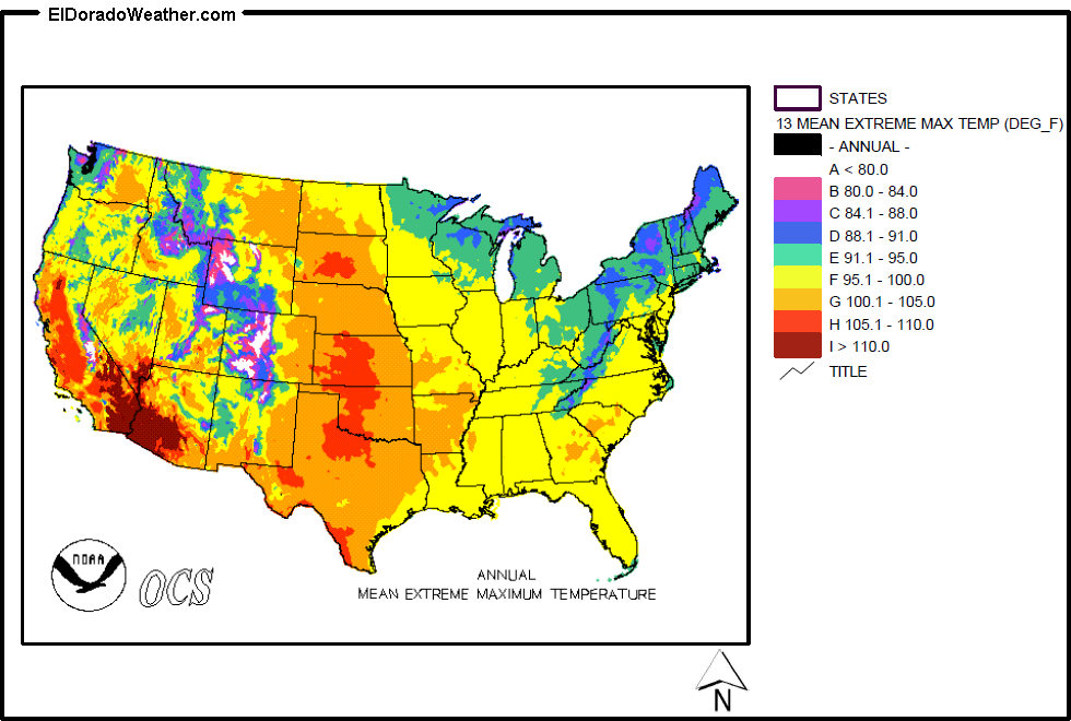 United States Yearly And Monthly Mean Extreme Maximum Temperatures - Us annual temperature map