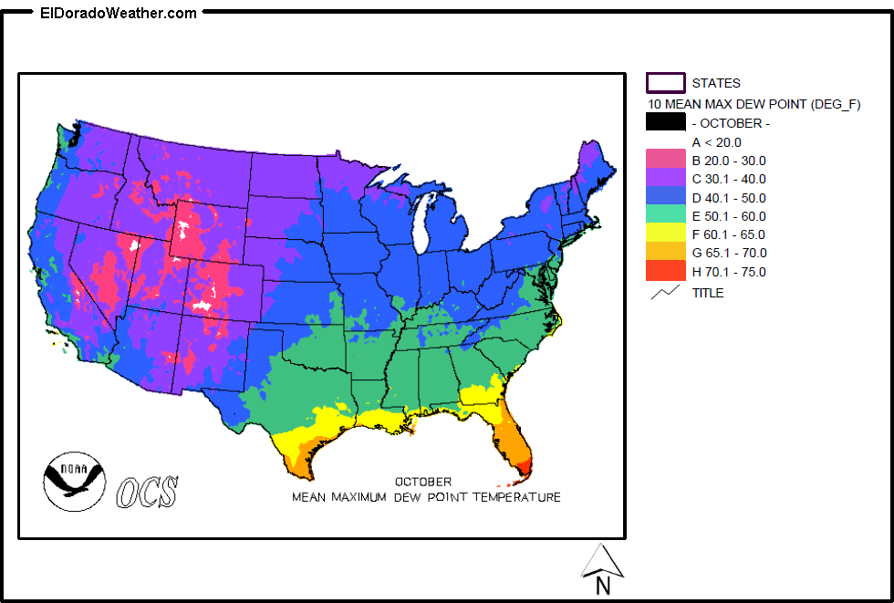 United States Yearly Annual And Monthly Mean Maximum Dew Point - Annual High And Low Temperatures Us Map