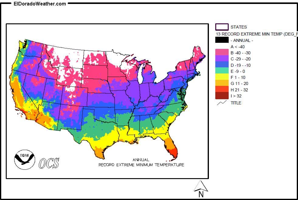United States Annual Record Extreme Minimum Temperature