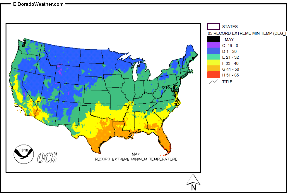 United States Record Extreme Minimum Temperatures For May Map - Us map temperature