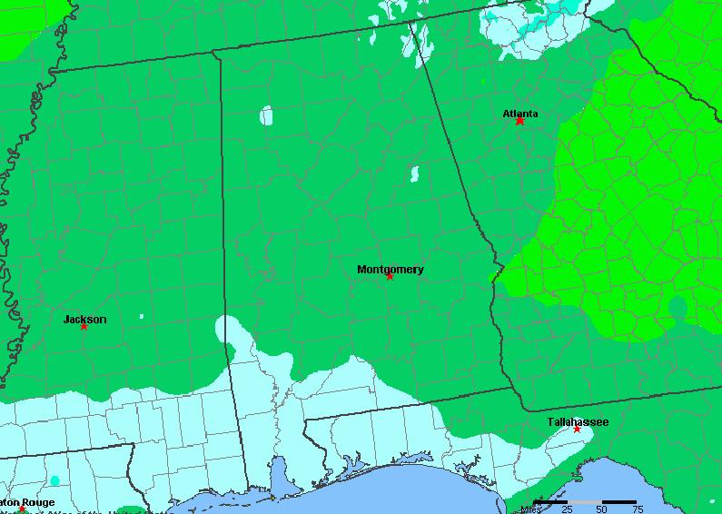 The State of Alabama Yearly Average Precipitation