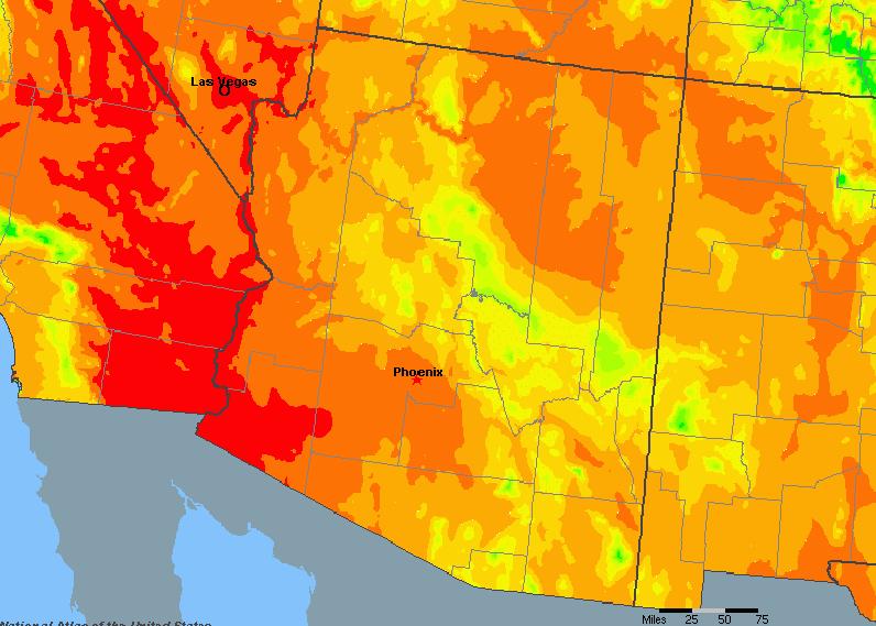 The State of Arizona Yearly Average Precipitation