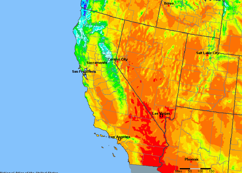 The State of California Yearly Average Precipitation