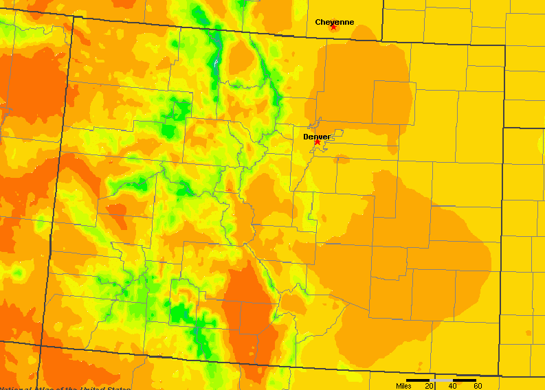 The State of Colorado Yearly Average Precipitation