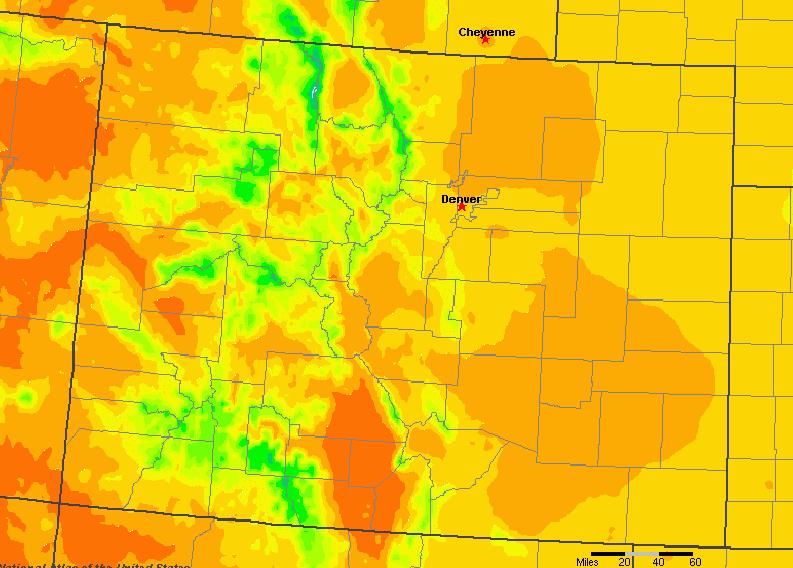 The State of Colorado Yearly Average Precipitation