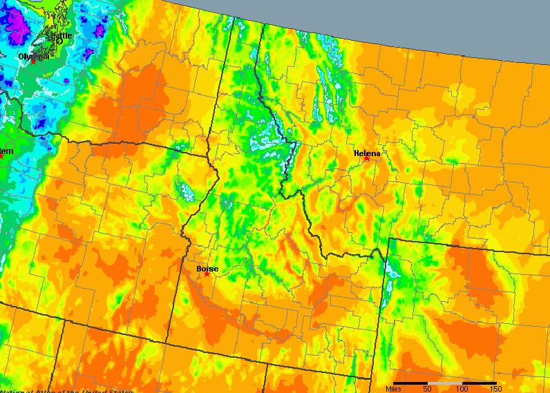 The State of Idaho Yearly Average Precipitation